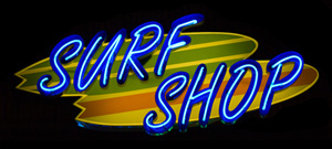 neon surf shop sign